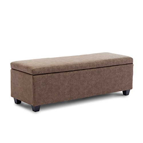 """BELLEZE Modern Ottoman Bench 48"""" inch Living Room Storage Rectangular Furniture Faux Leather Luxury, Rustic Brown"""