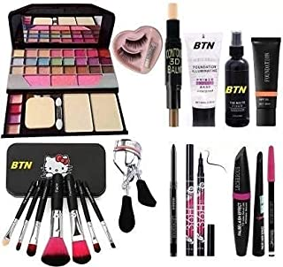 Face Makeup Kit Brush set with TYA makeup kit,3D contour stick,Primer, Fixer, Foundation, Kajal, Waterproof 36H Sketch eye...