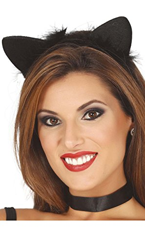 Guirca Schwarze Katzen Ohren schwarzes Fell für Damen Karneval Fasching Party schwarz Katze