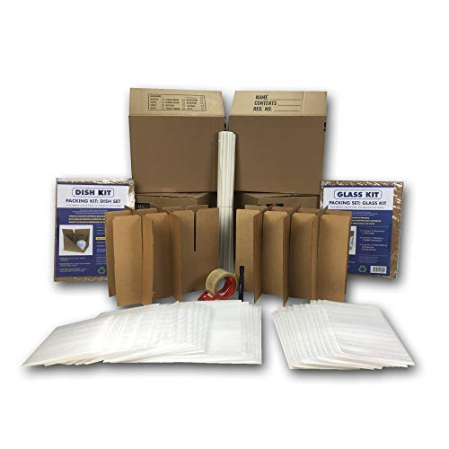 Kitchen Moving Box & Supplies Kit #1 4 Boxes with Dish/Glass...