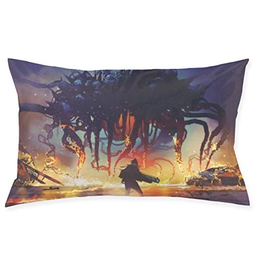 LemonSisterShop Design mit Kampfszene Human Giant Monster dekorative Kissenbezug-Kissenbezüge 20x30 Zoll für Sofa Couch Dekoration
