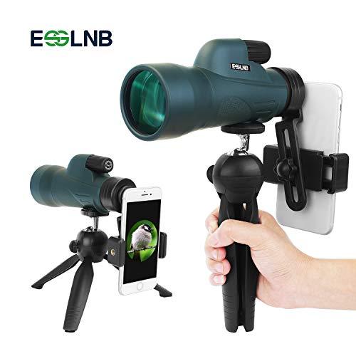 ESSLNB Monokular Teleskop 12X50 mit Handy Adapter und Ausziehbares Stativ IPX7 Wasserdicht Stoßfest BAK4 Prisma Grün FMC für Vogelbeobachtung Jagd Camping