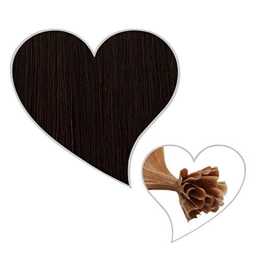 GLOBAL EXTEND® Lot de 25 extensions de cheveux naturels Remy Hair avec onglets en kératine U-tip Brun espresso #1C 60 cm 1 g