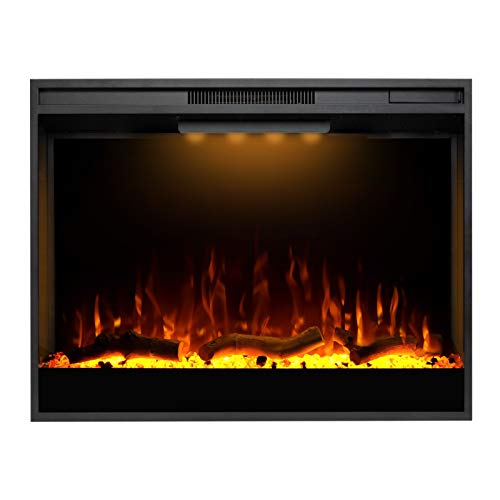 Mystflame Electric Fireplace, 33 Inches Recessed Electric Fireplace Insert, Remote Control Fireplace Insert with Overheat Protection, Electric Fireplace Heater with Adjustable Light and Touch Screen