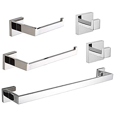VELIMAX Premium Stainless Steel 5 Pieces Bathroom Hardware Set Wall Mounted Bathroom Accessories Set - 2 Robe Hooks Toilet Paper Holder Towel Ring Towel Bar, Polished