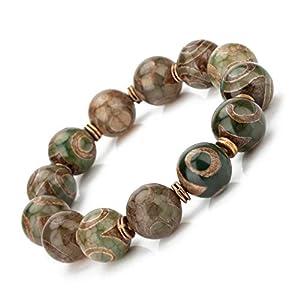 Prime Fengshui ZenBless Tibetische Dzi Perlen Armband Amulett Armreif Grau Rund Positive Energie und Glück