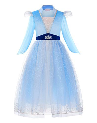 ReliBeauty Disfraz Frozen 2 Disfraz Elsa Frozen Carnaval Fiesta de Cosplay de Halloween Disfraz Princesa niña,3-4 años(100),con Accesorios