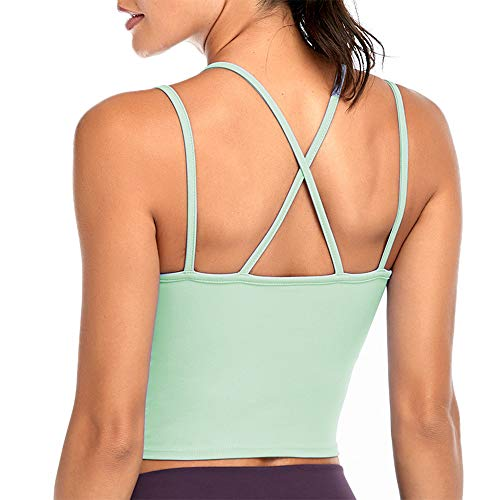 N/H Cici Five Women Strappy Sports Bra Sexy Crisscross Back Breathable Longline Yoga Vest with Removable Pads Green
