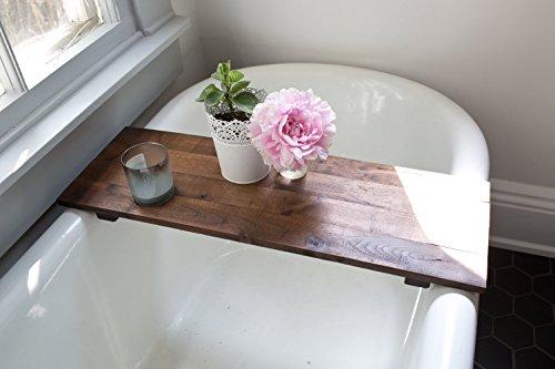 Rustic Wooden Bathtub Tray Walnut Wood Bath Caddy Farmhouse Decor Handmade