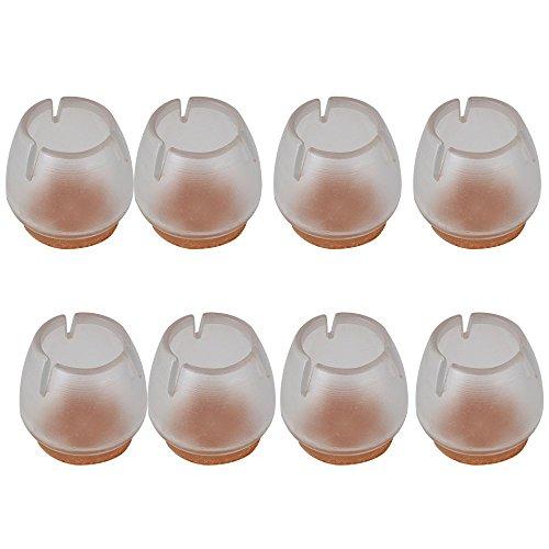 RUIIO 8 pcs 16–20 mm Transparent Rond Ouverture Chaise Table Leg Caps Pieds en Caoutchouc Patins de Protection Meubles Housses de Table