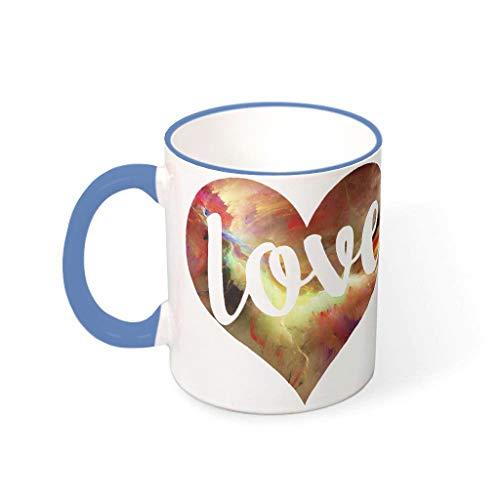 O1FHW-8 11 Unze Liebe Herz Wasser Kaffee Becher mit Griff Hochwertige Keramik Personal Mug Jungen Männer, Wohnheim verwenden Steel Blue 330ml