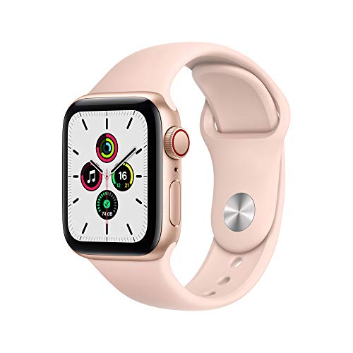 Apple Watch SE (GPS + Cellular, 40 mm) Aluminiumgehäuse Gold, Sportarmband Sandrosa