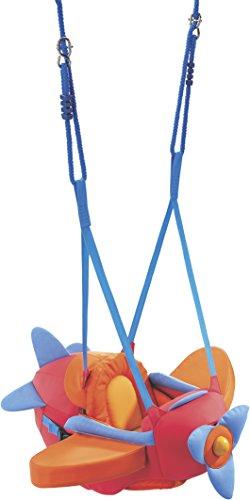 HABA 8349 - Jouets d'Eveil-Balançoire Aéroplane pour bébé montée à l'intérieur avec sangles réglables, ceinture de sécurité et hélice pour les enfants de 10 mois et plus