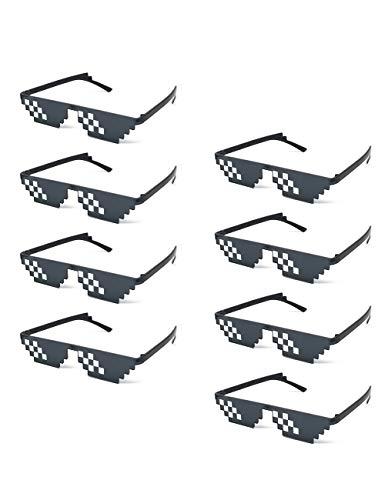 Onnea 8 Stück Set Mosaik Party Sonnenbrillen mit 8 Bit Mosaik Brillen für Erwachsene Kinder (8-Pack Flat)