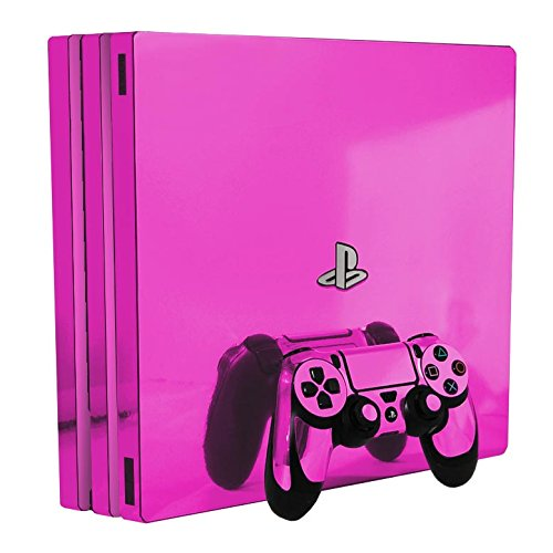 Pink Chrome Mirror Vinyl Decal Faceplate Mod Kit for Sony PlayStation 4 Pro Console by System Skins