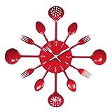 Premier Housewares - Reloj de pared, diseño de cubertería, diámetro de 43 cm, color rojo