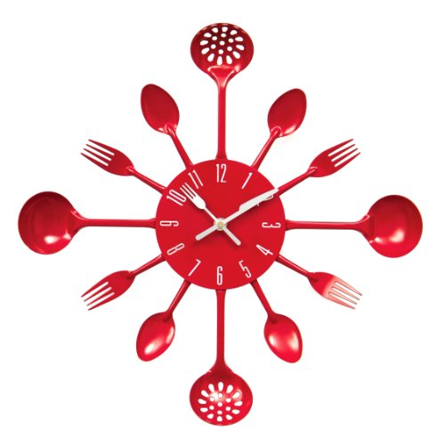Premier Housewares Wanduhr Besteck, 43 cm Durchmesser, rot