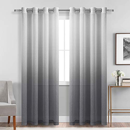 DWCN Faux Linen Grey Ombre Sheer Curtains - Gradient Semi Voile Grommet Top Window Curtains for Bedroom and Living Room, Set of 2 Panels, 52 x 84 Inches Long