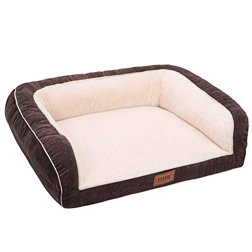 EMME Dog Bed for Small, Medium and Large Dogs Orthopedic Dog Beds with Plush Foam Mattress Joint Relief Washable & Removable Cover Deluxe Dog Couch Sofa Style Pet Bed (Coffee, Small)