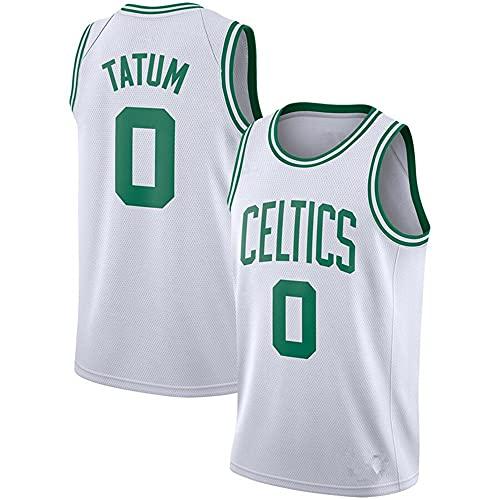 NBA Chaleco Camiseta Celtics No. 0 Jersey Hombre Casual Baloncesto Blanco Camiseta de Manga Corta, S