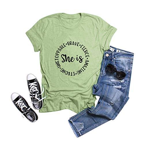 WGNNAA Damen Casual T-Shirt Kurzarm Rundhals Bluse Freizeitshirts 2020 Sommer Neu Bluse Atmungsaktiv Oberteile Weiß T-Shirt Tops Groß Größen S-5XL
