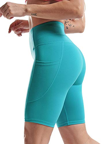 Cadmus High Waist Bike Shorts for Women Naked Feeling Athletic Shorts 2 Side Pockets, 33#, Cyan, XL