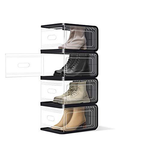 Cajas de zapatos de plástico, paquete de 4 organizadores de zapatos apilables con puerta clara, organizador de almacenamiento de zapatos apilable con puerta principal, polvo y a prueba de humedad