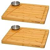DuneDesign Juego de 2 - Tabla de Servir Bambú y Tazón de Salsa 30x25cm Plato de Madera para Bistec