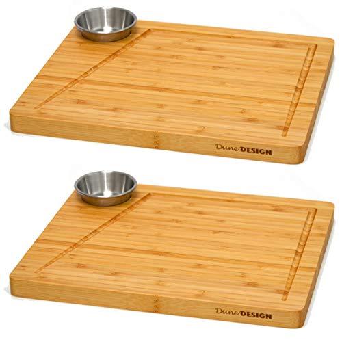 DuneDesign 2er Set - Bambus-Servierbrett mit Dip-Schale - 30x25cm Steakbrett aus Holz