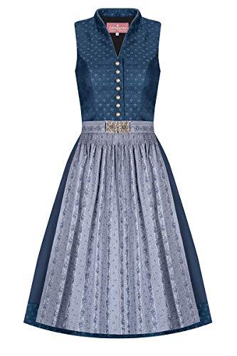Lieblingsgwand Louise 007493 - Traje tirolés (65 cm, longitud de la falda: 65 cm, cierre alto, con elegante diseño de rosas, detalles vintage), color azul y gris azul 48