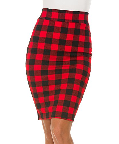 Urban CoCo Women's High Waist Stretch Bodycon Pencil Skirt (L, 5)