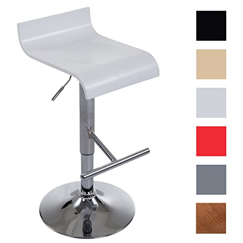 CLP Barhocker BERLIN mit Metallgestell | Höhenverstellbarer Barstuhl mit Holzsitz | Tresenhocker mit Fußstütze und drehbarem Sitz | In verschiedenen Farben erhältlich Weiß