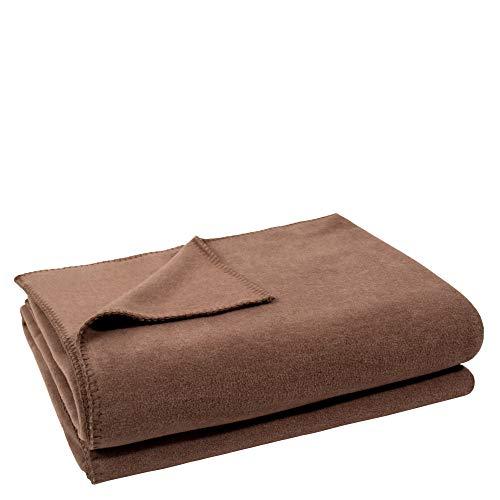 Soft-Fleece-Decke – Polarfleece-Decke mit Häkelstich – flauschige Kuscheldecke – 110x150 cm – 840 smoke – von 'zoeppritz since 1828'