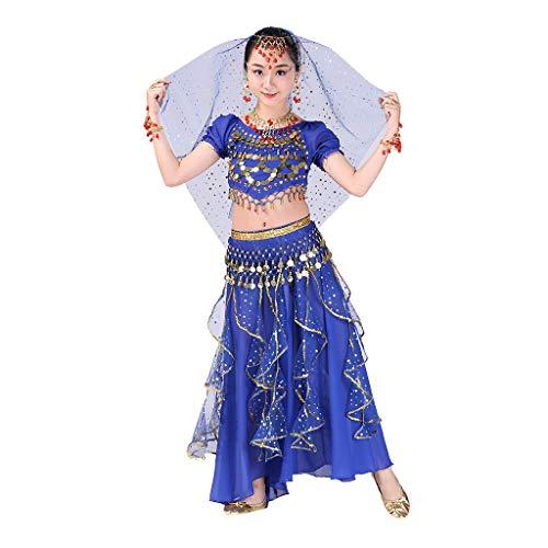 YWLINK Danza del Vientre, NiñAs India Danza del Vientre Danza Egipcia Traje De Rendimiento Conjunto De 2 Piezas Traje De Baile Vestido De Fiesta Bien Parecido(Azul Oscuro,4-9 años/S)