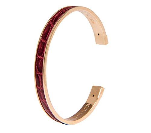 STAMERRA Armreifen/Armband vergoldet, Krokodilleder (100% Made in Italy), bordeaux - Cyber-Monday-Woche Angebot befristet