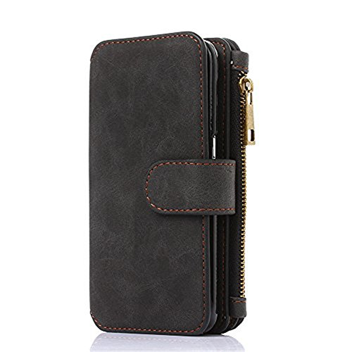 2 In 1 Luxury PU Leather Wallet Case for Iphone Flip Cover Protective Shell Detachable Cover Card Holder Slot Wrist Strap For iPhone 6/7/8 4.7,5.5 inch,For iPhoneX (black, I8/8S)