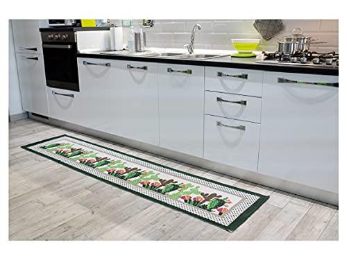 Tappeto Antiscivolo Cucina, Passatoia Cucina Misura 50x230 cm, Lavabile in Lavatrice, Motivo Mexico, Disegno Cactus, Tappetino Bagno e Multiuso