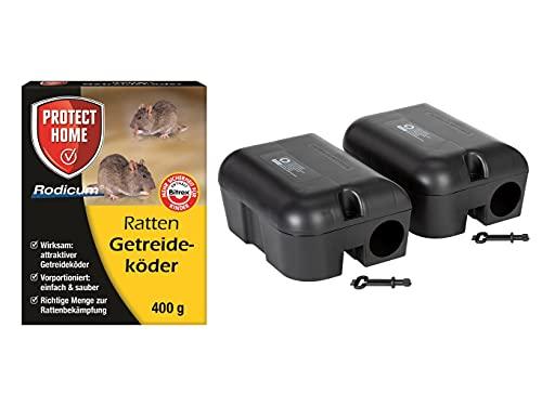 Köder-Discount: Sparset Rattenbekämpfung 2 Köderstationen + 400g Rattengift Rattenportionsköder, Ratten Köderbox für Rodentizid, sichere Ausbringung...