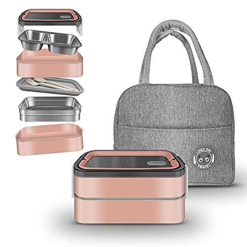 Porta Pranzo Termico Lunch Box Bento Box Con Borsa Termica 2x600ML Portapranzo Per Adulti per Bambini Senza BPA Grado di sicurezza alimentare Gavetta Con Due Scomparti