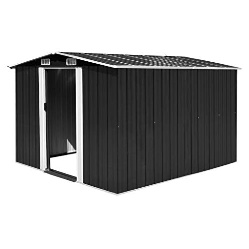 vidaXL Garden Shed 257x298x178cm Metal Anthracite Tool Storage House Cabin