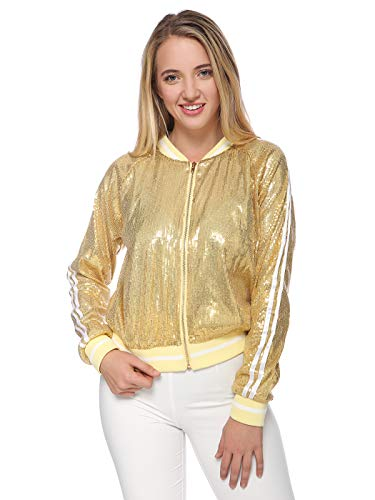 ANNA-KACI Womens Long Sleeve Front Zip Track Stripe Sequin Bomber Jacket with Ribbed Cuff, Gold, Medium