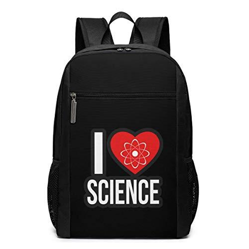 ZYWL Ich Liebe Wissenschaft Laptop Rucksack, Reiserucksäcke School College Bookbag für Frauen und Männer 17 Zoll