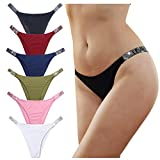 LEVAO Panties for women Sexy Thong Letter Rhinestones belt G-string Low-rise Tanga Shorts Briefs Pack of 6