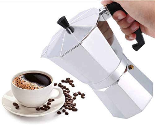 Dpower caffettiera alluminio macchina caffè espresso classica facile da usare veloce da pulire per fornelli a gas o fornelli elettrici 6/12 tazze caffettiera per ufficio casa argento (600ml(12 Tazze))