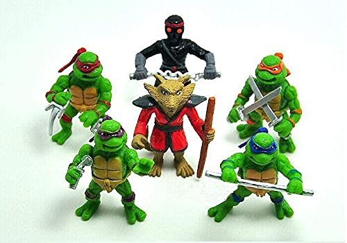 CHOCHO 6 Teenage Mutant Ninja Turtles Single Figure Doll with Sheep Eyes Micro Landscape Ornaments Kids Toys