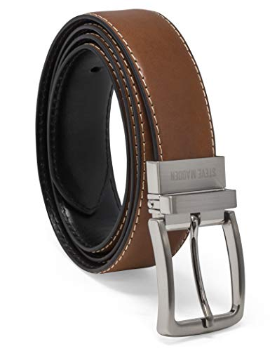 Steve Madden Men's Dress Casual Every Day Reversible Leather Belt, Cognac/Black (Feather Edge), 40