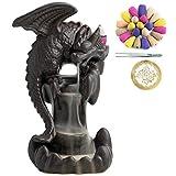 VVMONE - Porta incenso in ceramica con 100 coni, a cascata, a flusso di incenso, fontana di incenso, ornamento per aromaterapia, decorazione per la casa, fantastico regalo