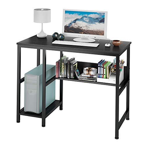 Ruitta Writing Computer Desk with Shelves, Sturdy Home Office Desk, Writing Desk Study Desk for Small Spaces, Easy Assemble, Stable Metal Frame (39', Black)