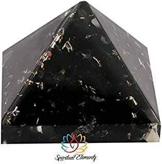 Spritual Elementz Reiki Charged Chakra Healing Black Orgone Pyramid (1'Inch) with Clear Crystal Gemstone Copper Metal (Stone for Protection from All Negative Energies)