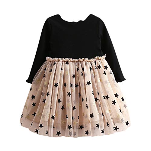 Vestido Tutú 3-8 Años para Bebé Malla Vestidos para Niñas Princesa Infantil Falda Tul Fiesta con Estrella Manga Larga Algodón Punto Lindo